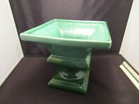 Haeger Pottery Green Glaze Pedestal Vase Square Shape