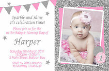 Personalised Pink Silver Birthday Invitations Glitter 1st 2nd 3rd Photo invites
