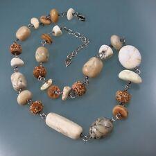 SILPADA 925 Sterling Silver Jasper Wooden Beads Beaded Multi Stone Necklace