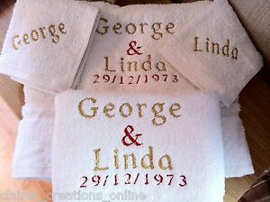 PERSONALISED WHITE FLANNEL &/OR TOWELS,WEDDING,ANNIVERSARY,BIRTHDAY GIFT