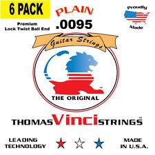 6 PACK - VINCI - U.S.A. Made Plain Singles Guitar Strings 9.5