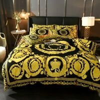 New Bedding Set Queen Size Satin with Versace Medusa Symbol 6PCS Black and Gold
