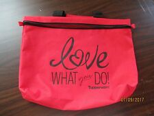 Tupperware Logo Consultant Love What You Do Red Zippered Bag 14.5 x 11 x 2
