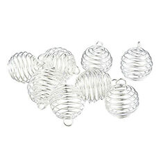 10X Spiral Bead Cages Pendants Findings Silver For Bola ball Diffuser 25x20mm