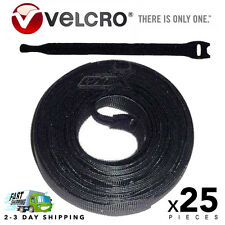 "25 VELCRO Brand Ties Cable Cord Organizer Wraps Reusable Die Cut Straps 8"" Black"