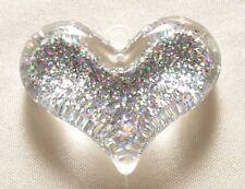 40mm Resin Bubblegum Silver Glitter Heart Pendant BP107