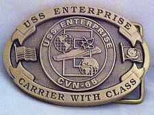 USS Enterprise Custom Navy Belt Buckle CVN-65 (Solid Brass)