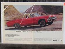 VINTAGE 1966 CHEVROLET IMPALA SUPER SPORT CONVERTIBLE AUTOMOBILE AD PRINT Z121