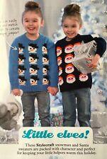 KNITTING PATTERN Childrens Christmas Jumper Snowman Santa Motif Sweater DK