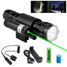Tactical XM-L T6 LED Flashlight Torch+Green Dot Laser Sight Beqam Fit 20mm Rail