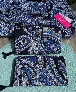 Vera Bradley RFID Turnlock Wallet Deep Night Paisley Signature Cotton NWT $60