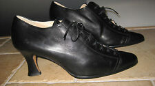 Vintage Rare Russel & Bromley Black Leather Lace up Womens Shoes Sz 40