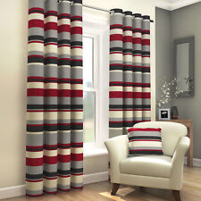 STRIPED RING TOP FULLY LINED PAIR EYELET CURTAINS BLACK RED CREAM GREY NEW