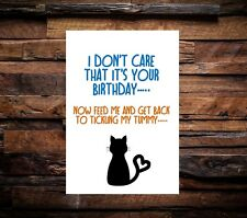 Funny Happy Birthday Card From Cat Joke Rude Humour