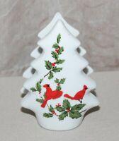 "Vtg 1984 Lefton White Ceramic Napkin Holder 04551 Tree Cardinals 4"" x 3"" Japan"