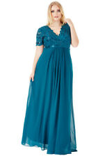 Goddiva Chiffon Lace Sequin Cap Sleeve Long Full Length Maxi Evening Party Dress