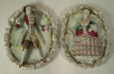 Antique Bone China Lace Embossed Victorian Couple Set of 2  Wall Hanging Plates