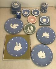15pc Wedgewood Jasperware Collectibles Cigarette Jar w Lid Trinket Box Plates