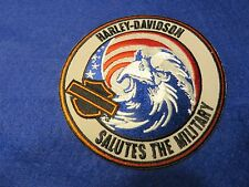 "HARLEY DAVIDSON SALUTES THE MILITARY Eagle Patch USA Flag 4"" Patch"