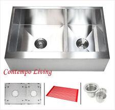 "33"" Flat Apron Farmhouse Kitchen Sink Double Bowl (60/40) with free accessores"