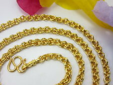 """Classy Double Rolo 4mm Link 24"""" Chain 22K 24K Gold Gp Baht Thai Necklace Gt1"""