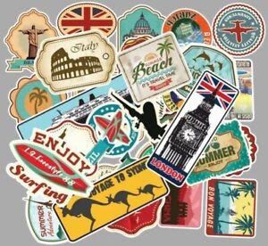 100 World Travel Country Region Logo Stickers Skateboard Luggage Laptop Decal UK