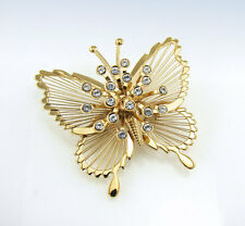 MONET Gold-Tone CRYSTAL Accent BUTTERFLY Pin BROOCH