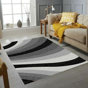 Luxury Wave Collection Small Extra Large Living Room Floor Carpet Rug Black