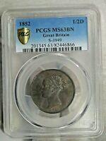 BU 1852 Great Britain Half Penny PCGS MS63 BN S-3949. Victoria. Mint: 637k.  #18