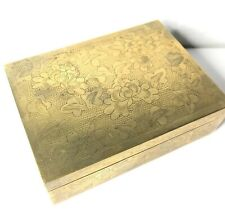 fine quality Chinese Cigarette Box etch brass wood lined Art Deco 1930's