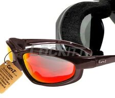 Curv-Z foam insulated motorcycle skydive glasses Maroon Frame Red Lens 02-08