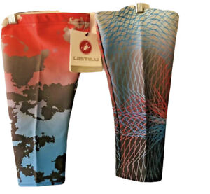 NEW Mens Size Large Castelli THERMOFLEX Warm Cycling Knee Warmers Colorful USA