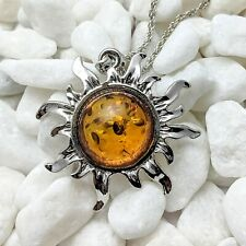 Amber Imitation Silver Sun Pendant Necklace