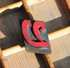letter: V rare wood type letterpress printing block woodtype font antique print.