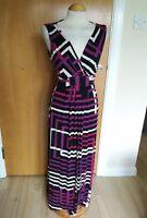 Ladies PER UNA Dress Size 10 Maxi Long Stretch Black Purple