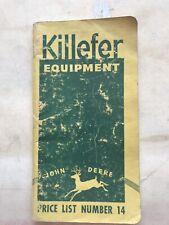 1941 Killefer John Deere Price List 14 Pocket Booklet