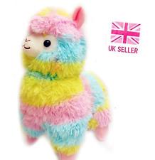 Large Cute Multicoloured Rainbow Alpaca Plush 38cm Tall Kawaii Giant Llama Gift