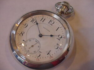 SPECTAULAR 1896 RAILROAD 21j 18s WALTHAM 2TONE MOVEMENT COIN SILVER POCKET WATCH