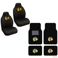 NHL Chicago Blackhawks Car Truck Front Rear Carpet Floor Mats & Seat Covers Set