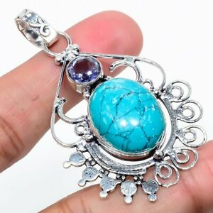 Santa Rosa Turquoise,Amethyst 925 Sterling Silver Pendant 2.44 Inch