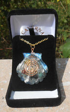 7 CHAKRA HEALING SEASHELL SHAPED ORGONE  PENDANT+CHAIN & JEWLERY BOX.