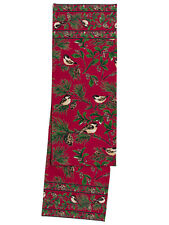 April Cornell Table Runner Chickadee Collection NWT 100% Cotton Red