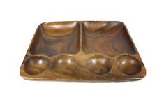 Vintage Wooden Bowl Divider Dish Snack Tray Compartments Trinkets Serving Decor