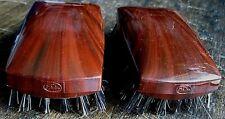 Pair (2) Vintage hair brush in Bakelite type faux-Tortoise/wood grain style