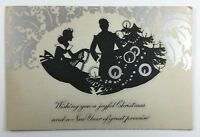 Antique Vintage Christmas and New Years Greeting Card with Embossed Decorations