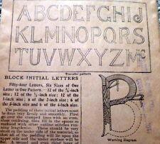 "Rare Vtg 1920s Block Initials Transfer Pattern Initial ""B"" Motifs Uncut"