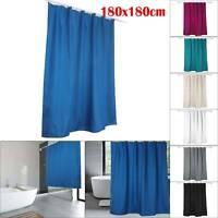 7Colours 1.8MX1.8M Shower Curtain Waterline Bathroom Plain 12 Matching Rings