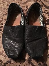Women's TOMS Classic Slip On Black Glitter Shoes Size 5 1/2