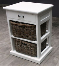 PARIS WOOD BEDSIDE TABLE/SIDE TABLE/LAMP TABLE - 1 DRAWER & 2 WICKER BASKETS