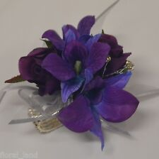 SILK FLOWER FORMAL DEB WRIST CORSAGE BLUE SINGAPORE ORCHID DIAMANTE SPRAY BAND